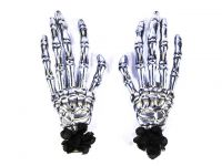 Hairy Scary Silver Skeleton Halloween Hades Hands w Black Hair Clip Set