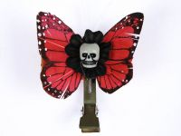 Hairy Scary Dark Orange Mini Kahlovera Skull Butterfly Feather Hair Clip