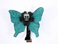 Hairy Scary Light Blue Glitter Mini Kahlovera Skull Butterfly Feather Hair Clip
