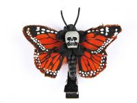 Hairy Scary Medium Orange Mini Kahlovera Skull Butterfly Feather Hair Clip