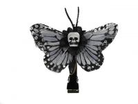 Hairy Scary Pale Lavendar Blue Mini Kahlovera Skull Butterfly Feather Hair Clip