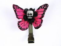 Hairy Scary Pink Mini Kahlovera Skull Butterfly Feather Hair Clip