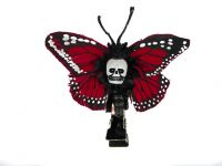 Hairy Scary Red Mini Kahlovera Skull Butterfly Feather Hair Clip