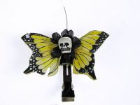 Hairy Scary Yellow Mini Kahlovera Skull Butterfly Feather Hair Clip
