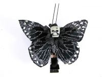 Hairy Scary Black & Silver Glitter Small Kahlovera Skull Butterfly Feather Hair Clip