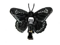 Hairy Scary Black & White Small Kahlovera Skull Butterfly Feather Hair Clip