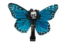 Hairy Scary Blue Small Kahlovera Skull Butterfly Feather Hair Clip