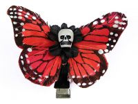 Hairy Scary Dark Orange Small Kahlovera Skull Butterfly Feather Hair Clip