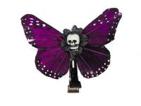 Hairy Scary Magenta Purple Small Kahlovera Skull Butterfly Feather Hair Clip