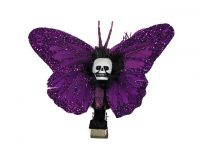Hairy Scary Purple Glitter Small Kahlovera Skull Butterfly Feather Hair Clip