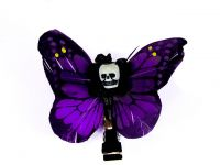 Hairy Scary Purple & Yellow or Purple & Pink Small Kahlovera Skull Butterfly Feather Hair Clip
