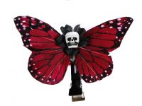 Hairy Scary Red Small Kahlovera Skull Butterfly Feather Hair Clip