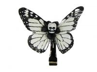 Hairy Scary White & Black Small Kahlovera Skull Butterfly Feather Hair Clip