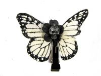 Hairy Scary White & Black w Silver Skull Small Kahlovera Skull Butterfly Feather Hair Clip