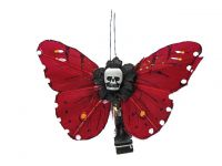 Hairy Scary Red N Yellow Small Kahlovera Skull Butterfly Feather Hair Clip