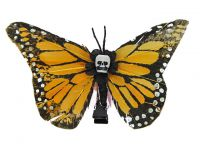 Hairy Scary Light Orange Medium Kahlovera Skull Butterfly Feather Hair Clip