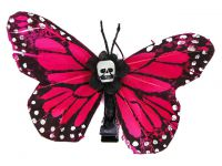 Hairy Scary Pink Medium Kahlovera Skull Butterfly Feather Hair Clip