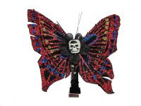 Hairy Scary Red Blue Glitter Medium Kahlovera Skull Butterfly Feather Hair Clip