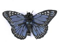 Hairy Scary Blue & Black w Blue Eyes Large Kahlovera Skull Butterfly Feather Hair Clip