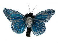 Hairy Scary Blue w Silver Glitter & Silver Large Kahlovera Skull Butterfly Feather Hair Clip