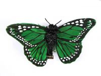 Hairy Scary Green & Black Large Kahlovera Skull Butterfly Feather Hair Clip
