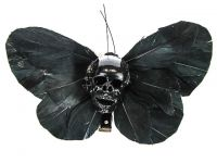 Hairy Scary All Black X Large Kahlovera Skull Butterfly Feather Hair Clip