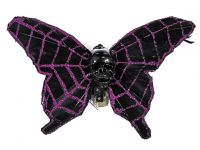 Hairy Scary Black Purple Glitter X Large Kahlovera Skull Butterfly Feather Hair Clip