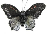Hairy Scary Black and Silver Glitter X Large Kahlovera Skull Butterfly Feather Hair Clip