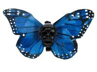 Hairy Scary Blue X Large Kahlovera Skull Butterfly Feather Hair Clip