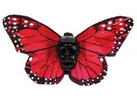 Hairy Scary Dark Orange X Large Kahlovera Skull Butterfly Feather Hair Clip