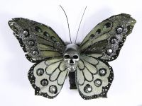 Hairy Scary Grey White & Silver Glitter X Large Kahlovera Skull Butterfly Feather Hair Clip