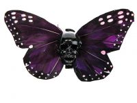 Hairy Scary Magenta Purple X Large Kahlovera Skull Butterfly Feather Hair Clip