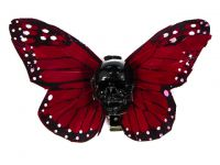 Hairy Scary Red X Large Kahlovera Skull Butterfly Feather Hair Clip