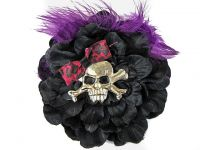 Hairy Scary Black w Magenta Purple Feather & Purple Leopard Bow Heavy Metal Skull Crossbones Hair Clip