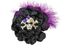 Hairy Scary Black w Magenta Purple Feather & Purple Bow Heavy Metal Skull Crossbones Hair Clip