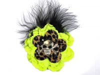 Hairy Scary Neon Yellow N Leopard w Black Feather & Black Bow Heavy Metal Skull Crossbones Hair Clip