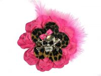 Hairy Scary Pink N Leopard w Pink Feather & Pink Bow Heavy Metal Skull Crossbones Hair Clip