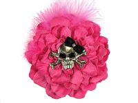 Hairy Scary Pink w Pink Feather & Black Bow Heavy Metal Skull Crossbones Hair Clip