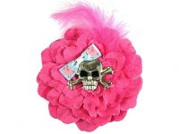 Hairy Scary Pink w Pink Feather & Piggy Bow Heavy Metal Skull Crossbones Hair Clip