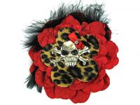 Hairy Scary Red N Leopard w Black Feather & Red Bow Heavy Metal Skull Crossbones Hair Clip