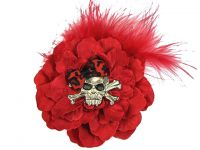Hairy Scary Red w Red Feather & Red Leopard Bow Heavy Metal Skull Crossbones Hair Clip