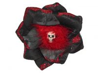 Hairy Scary Black Glitter & Red Feather Skull Lucyfur Hair Clip