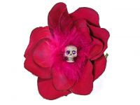Hairy Scary Pink Feather Skull Lucyfur Hair Clip
