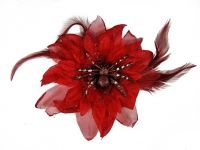 Hairy Scary Red Feather & Spider Tara Tarantula Hair Clip