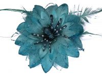 Hairy Scary Turquoise Blue Feather & Spider Tara Tarantula Hair Clip