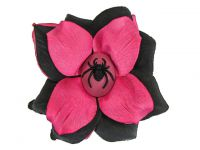 Hairy Scary Pink & Black Spider Annatommy Cameo Hair Clip