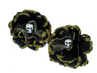 Hairy Scary Black w Gold Glitter Rosie the Reaper Skull Hair Clip Set