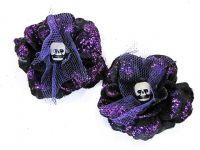 Hairy Scary Black w Purple Glitter Rosie the Reaper Skull Hair Clip Set