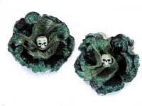 Hairy Scary Black w Sea Green Glitter Rosie the Reaper Skull Hair Clip Set