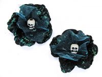 Hairy Scary Black w Turquoise Glitter Rosie the Reaper Skull Hair Clip Set